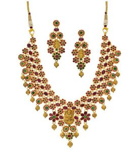 Buy Ruby & Emerald Gold Necklace Set
